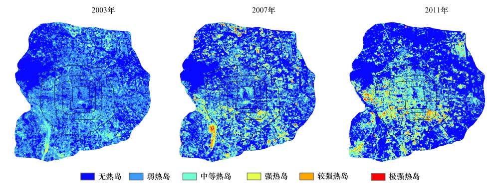 图 3是夏季北京城市的热岛等级变化图.