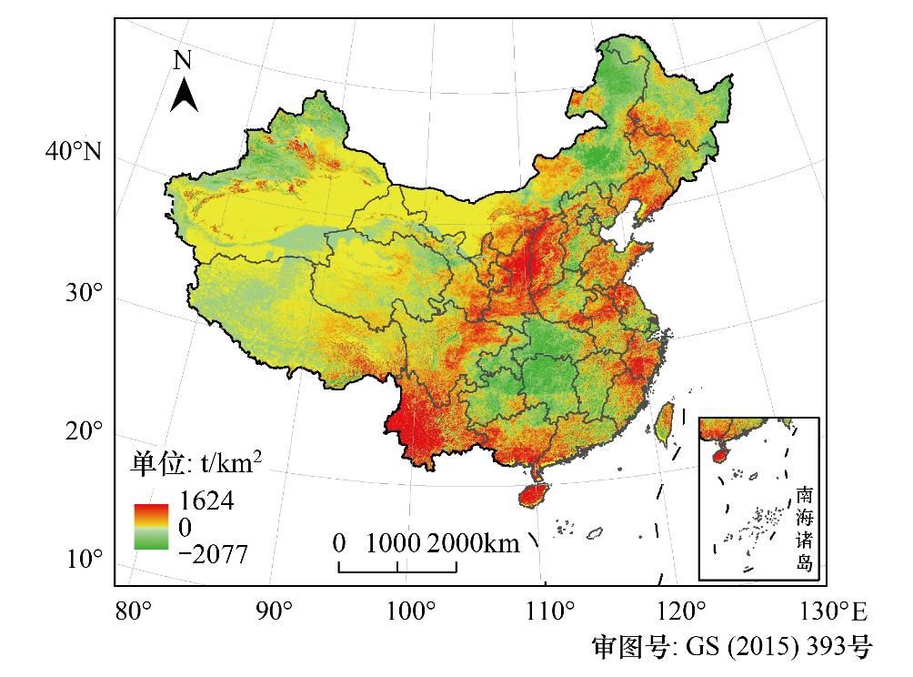年中国植被年氧气生产量空间分布变化图