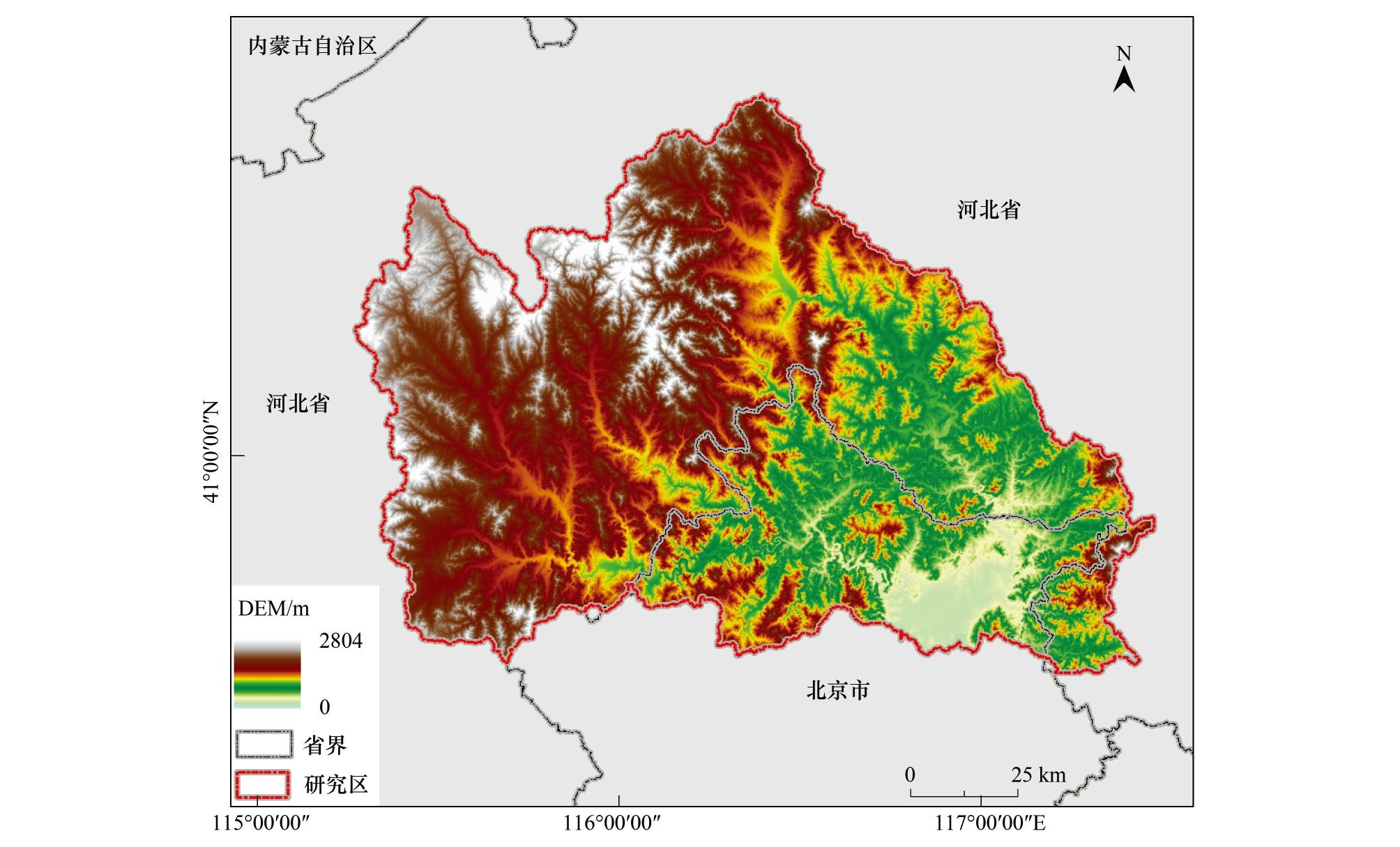 (1)常绿针叶林识别 北方山区的常绿植被一般为常绿针叶林,冬季或者初春时期,只有常绿植被会在遥感影像中反映出植被信息,NDVI较高。因此在该作业块内,本文收集了冬季的HJ-1影像,将NDVI大于0.1的区域设置为常绿针叶林。 (2)耕地识别 密云水库上游地区受到退稻还旱政策影响,耕地中不存在水田,只有旱地类型。北方地区的旱地在春季农作物还未播种或者刚播种还未出苗时,影像特征显示为裸地,而在夏季农作物正处在茂盛期,影像特征与林地较为相似。本文采用两景不同时期(春季和夏季)的HJ-1影像来识别研究区的耕地,